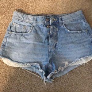 Light wash high waste jean shorts
